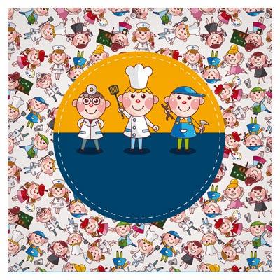 وکتور بنر کارتونی دکتر ، سرآشپز و تعمیرکارهای کوچولو (Cartoon personage Cook Medical and Painter)