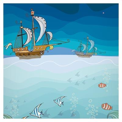 پس زمینه کارتونی زیبای دریا و ماهی ها (cartoon tropical theme background vector)