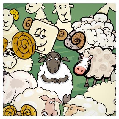 مجموعه وکتور کاراکتر کارتونی گوسفند بصورت لایه باز (Children Education Animal Cartoon)