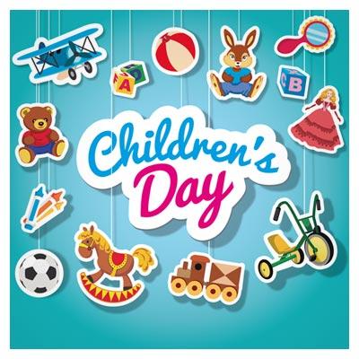 وکتور لایه باز مجموعه اسباب بازی های کارتونی (روز کودک)