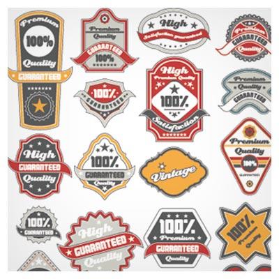 مجموعه استیکر و لیبل های کلاسیک بصورت لایه باز وکتور (Classic Label stickers)