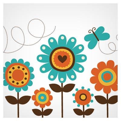 وکتور کارتونی گلهای نقاشی شده کودکانه