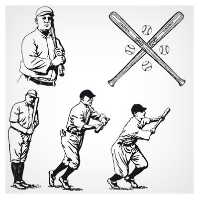 وکتور لایه باز توپ و بازی بیسبال (Old Time Baseball Vintage Vectors)