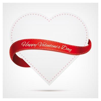 وکتور قلب و روبان بصورت لایه باز (Vector White heart shape Ribbon)