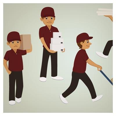 وکتور لایه باز کاراکتر کارتونی مرد تحویل دهنده بار (delivery character set)