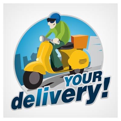 فایل لایه باز وکتور کاراکتر (شخصیت) کارتونی پیک موتوری (Delivery Logo Vector)