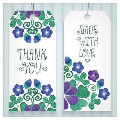 تگ های لایه باز وکتور هدیه با طرح گلهای آبرنگی (Gift Tags With Watercolor Flower Vector)
