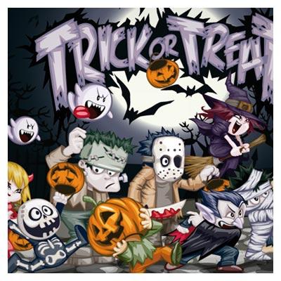 وکتور پس زمینه شخصیت های کارتونی هالووین (Halloween Design Vector Elements)