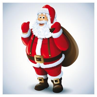 وکتور لایه باز کاراکتر و شخصیت کارتونی بابانوئل (Santa Claus Happy Christmas Vector)