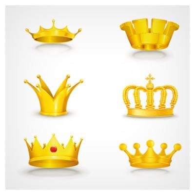 وکتور رایگان مجموعه تاج طلایی پادشاهی (Gold Crown Vector)
