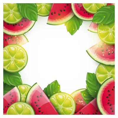 بنر زیبای وکتور هندوانه و لیمو ترش بصورت لایه باز (Summer Fruits Art Background vector set)