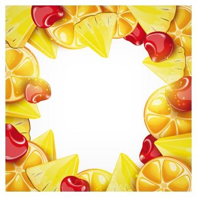 بنر زیبای میوه های رنگی (پرتقال ، گیلاس و تکه های آناناس)(Summer Fruits art background vector set)