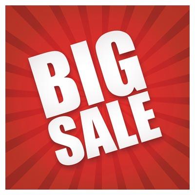 بنر لایه باز قرمز با موضوع فروش بزرگ (Big Sale Banner)(sunburst big sale vector)