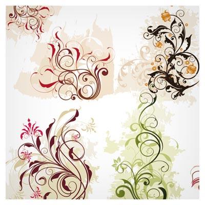 وکتور مجموعه المان های Floral و Swirl