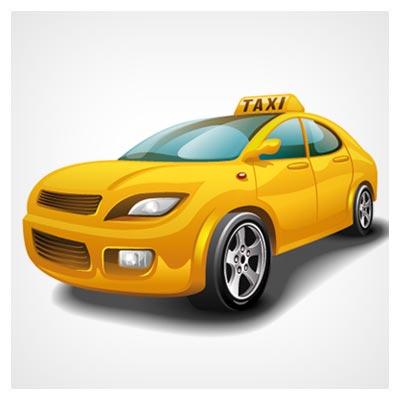 وکتور رایگان تاکسی سرویس زرد شبانه روزی (Taxi 24 hour service poster vector material)