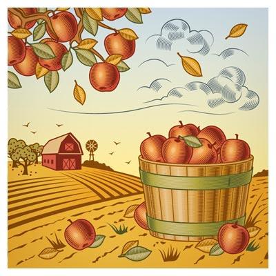 وکتور کارتونی پس زمینه مزرعه سیب قرمز