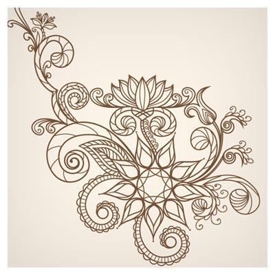 طرح وکتوری گل های خطی فانتزی رسم شده با دست (Hand Drawn Abstract Greeting Card)