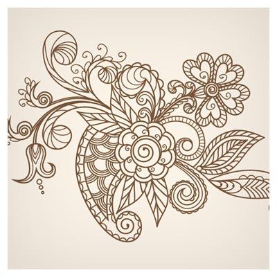 وکتور زیبای گل های خطی نقاشی شده لایه باز