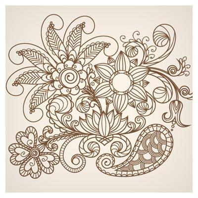 دانلود رایگان فایل وکتور پس زمینه گلهای خطی نقاشی شده (Hand Drawn Abstract Greeting Card)