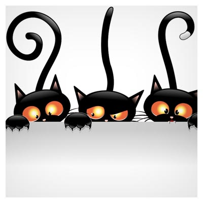 وکتور کارتونی گربه های سیاه لب دیوار (Three Funny cartoon bitvector)