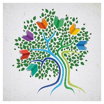 وکتور رایگان لایه باز درخت کتاب (Tree With Book Creative Vector)