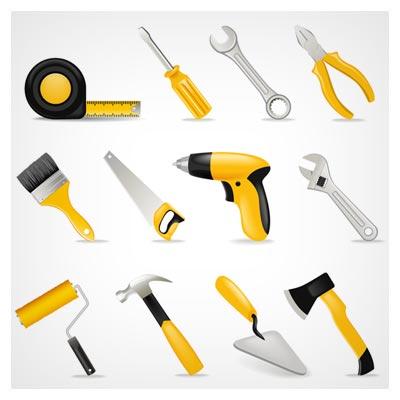 وکتور مجموعه ابزارهای مختلف صنعتی (Vector Tool Design Set)