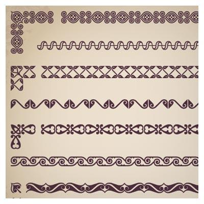 مجموعه المان های حاشیه و گوشه ساده لایه باز (Vintage Borders With Corner Elements Vectors)
