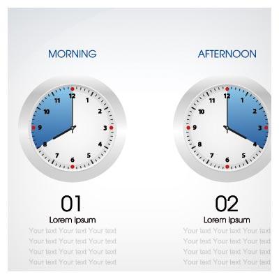 اینفوگرافی وکتور اختلاف ساعت های مختلف جهان