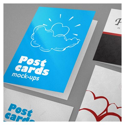 موکاپ لایه باز نمایش مجموعه کارت پستال عمودی و افقی