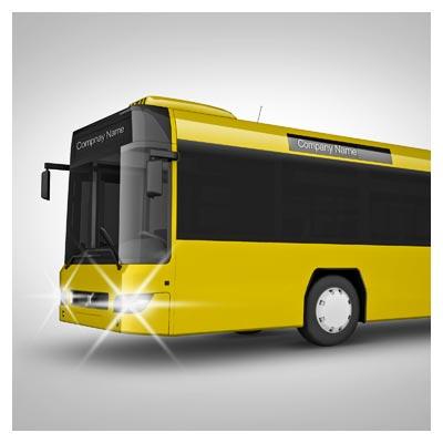 موکاپ نمایش طرح روی بدنه اتوبوس