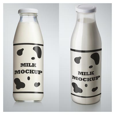 Mockup لایه باز بطری شیشه ای شیر در دو حالت مختلف