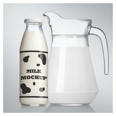 موکاپ (Mockup) لایه باز بطری شیشه و پارچ شیر