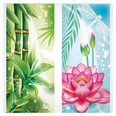 وکتور کارتونی گیاهان برکه (درخت بامبو و گل نیلوفر آبی)(Beautiful Flowers Background Vector)