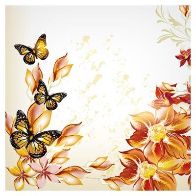 وکتور گل و بوته های طلایی و پروانه (beautiful flowers vector background)