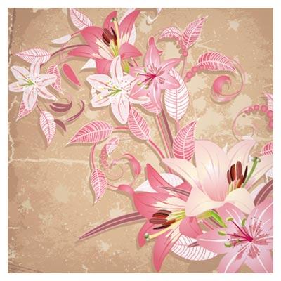 پس زمینه گل های لیلیوم صورتی ملیح (beautiful flowers vector background)