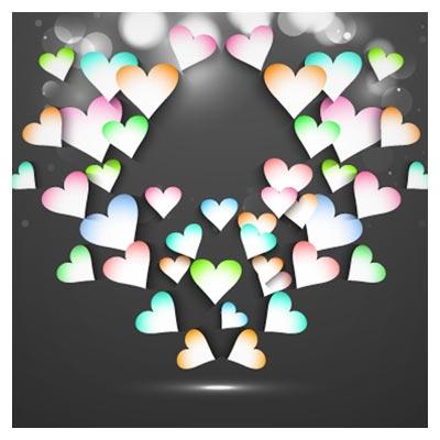 وکتور عاشقانه قلب های رنگی در زمینه سیاه (Beautiful Valentine Cards Vector Background)