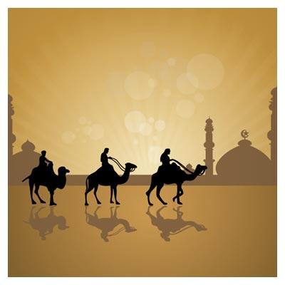 دانلود وکتور پس زمینه کارتونی اعراب بادیه نشین (شتر سواران)(Camels Vector Background)