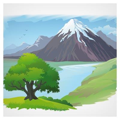 بکگراند کارتونی طبیعت ، رودخانه و کوه (Cartoon Landscape Vector Background)