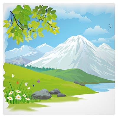 بکگراند کارتونی طبیعت بهاری بصورت لایه باز (Cartoon Landscape Vector Background)