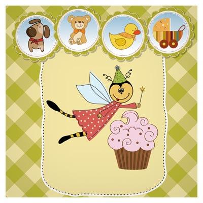 بنر کارتونی و کودکانه جشن تولد نوزاد (Cute Cartoon Style Childrens Card Design Vector)