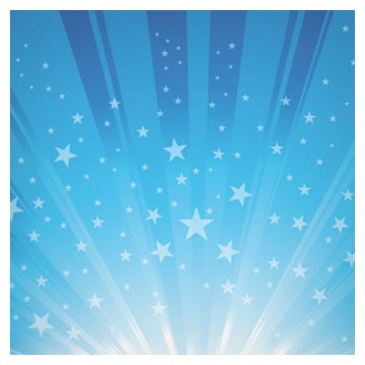 پس زمینه وکتور انفجار ستاره ها در آسمان آبی (Exploding Star Burst Background Vector)
