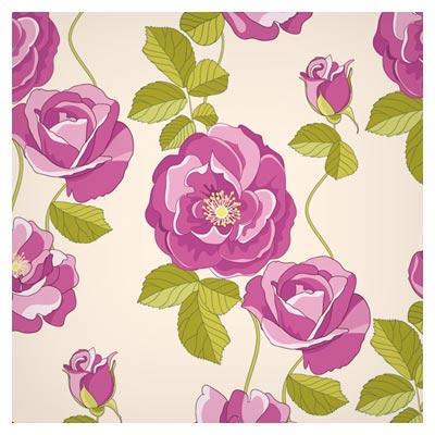 پترن لایه باز گل های رز محمدی صورتی (Flowers Vector Pattern Background)