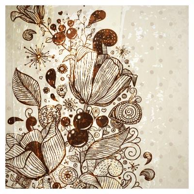 طرح پس زمینه گل های خطی تزئینی با فرمت وکتور (European Pattern Background)