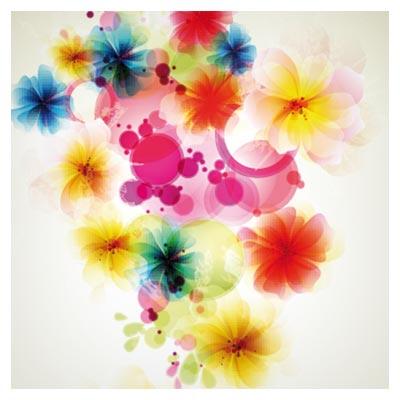 پس زمینه رنگارنگ از گل های زیبا با فرمت وکتور (Fancy Flowers Background)