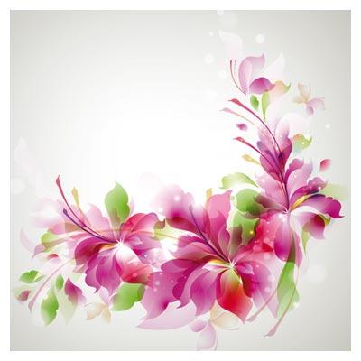 وکتور لایه باز گل های پر زرق و برق صورتی (Gorgeous Fashion Pattern Vector Background)
