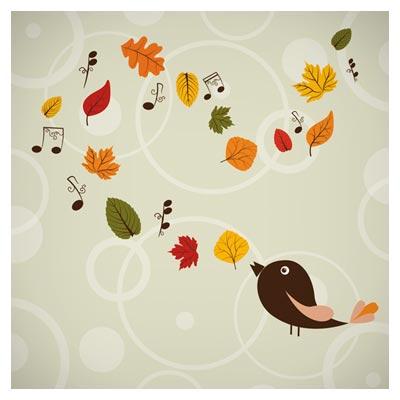 بنر پاییزی وکتوری برگریزان و پرنده نغمه خوان (Hand Painted Maple Leaf Background)