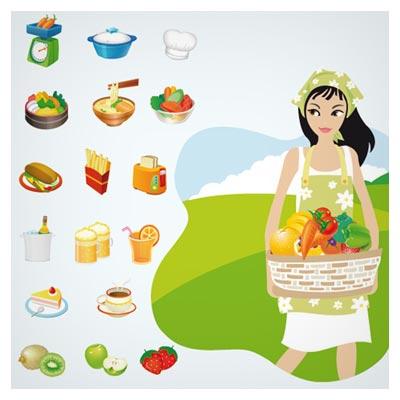 وکتور دختر آشپز و غذاهای متنوع بصورت لایه باز (Food Cooking Graphics)