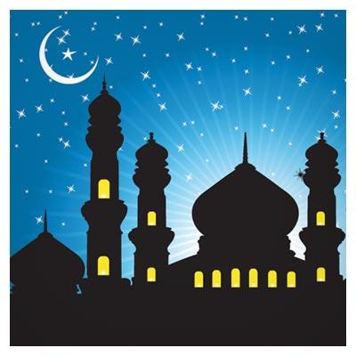 وکتور لایه باز مسجد و ماه در شب (شبهای ماه مبارک رمضان)(Mosque Vector Background)