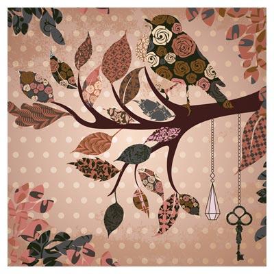 پترن کلاژی درخت و پرنده با طرح های پارچه ای (pink birdie pattern vector background)