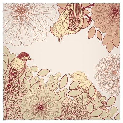بکگراند لایه باز وکتوری پرنده و گل های خطی زیبا (pink birdie pattern vector background)